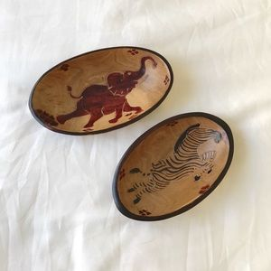 Vintage Set of Two African Wood Bowls